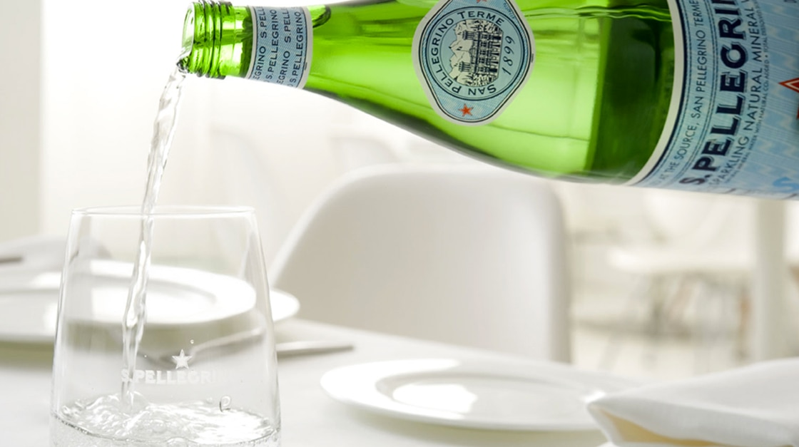 San Pellegrino sparkling water in a glass for sparkling water