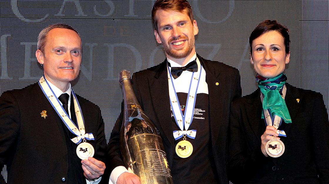 Jon Arvid Rosengren, the winner of The World's Best Sommelier Contest with Julie Dupouy from Ireland and David Biraud from France