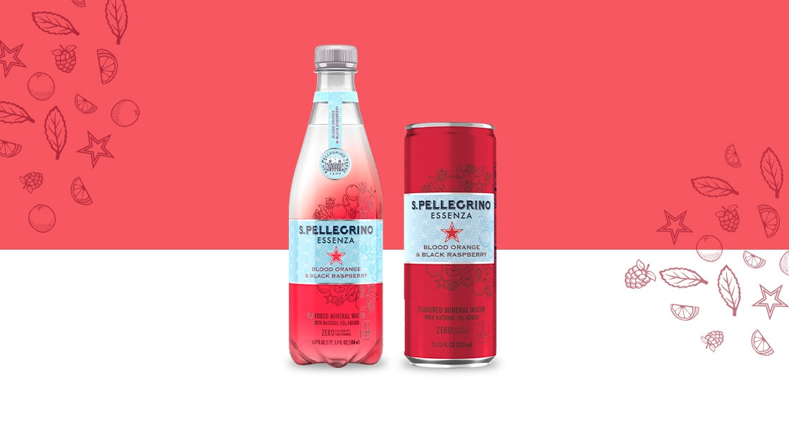 Bottle and can of S.Pellegrino Essenza