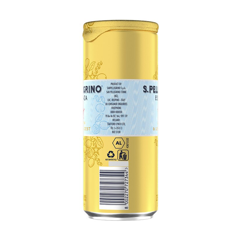 S.Pellegrino Essenza, Lemon and Lemon Zest Can Nutrition facts