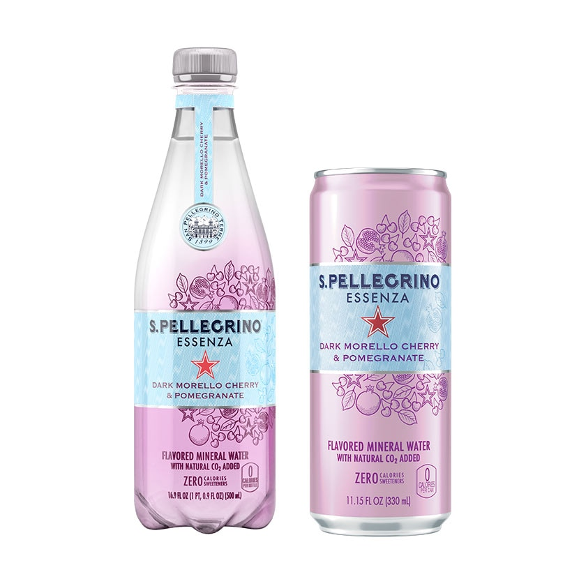 Can and bottle of S.Pellegrino Essenza with dark morello cherry and pomegranate