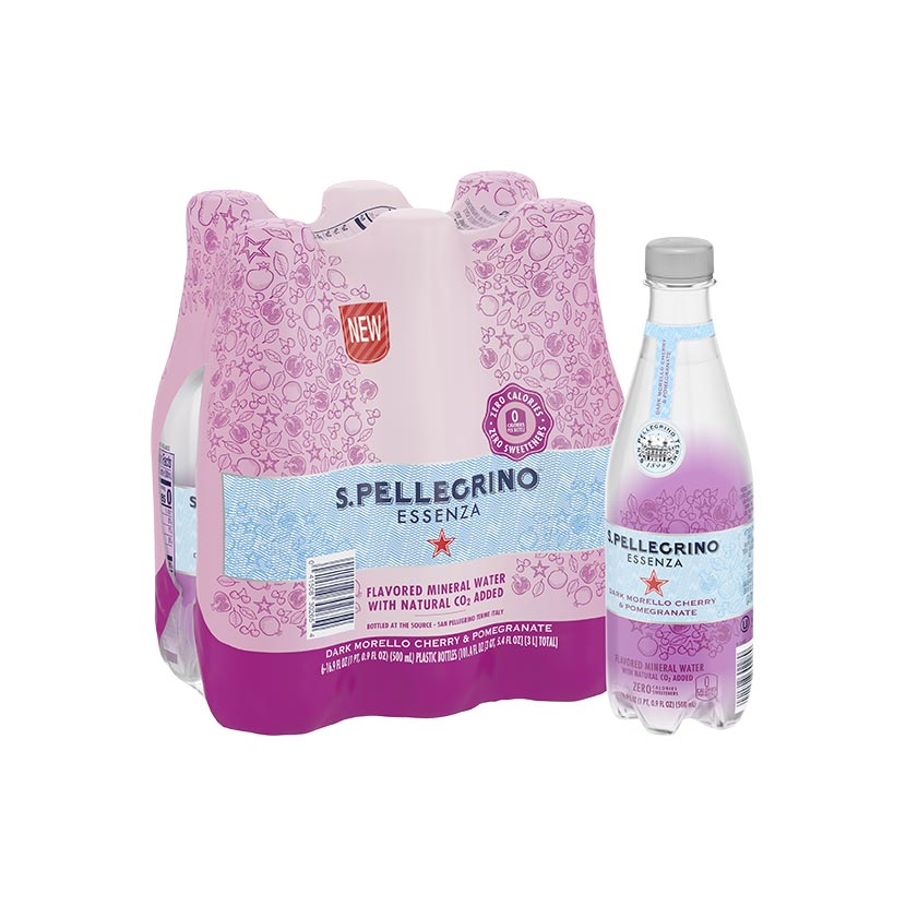 Pack of S.Pellegrino Essenza with dark morello cherry and pomegranate bottles