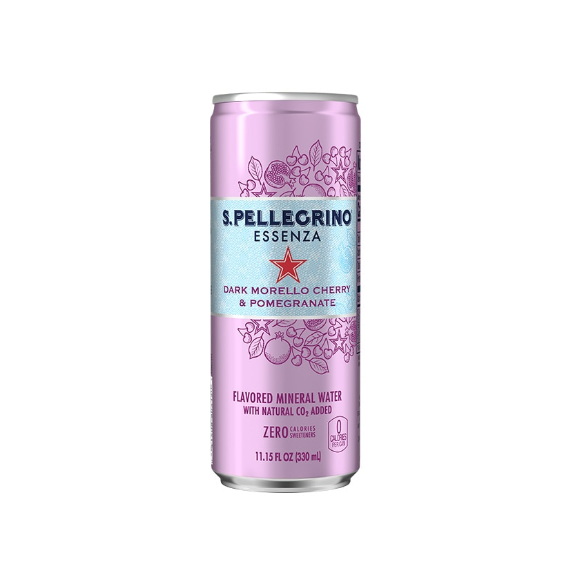 S.Pellegrino Essenza, Dark Morello Cherry and Pomegranate Can front