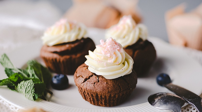 Three Chocolate Cupcakes with cream cheese