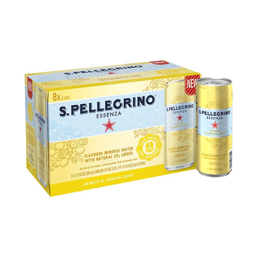 S.Pellegrino® Essenza, Lemon and Lemon Zest 8 cans fridgepack