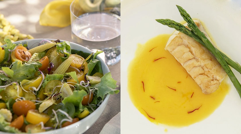 Raw vegetables salad and grilled fish