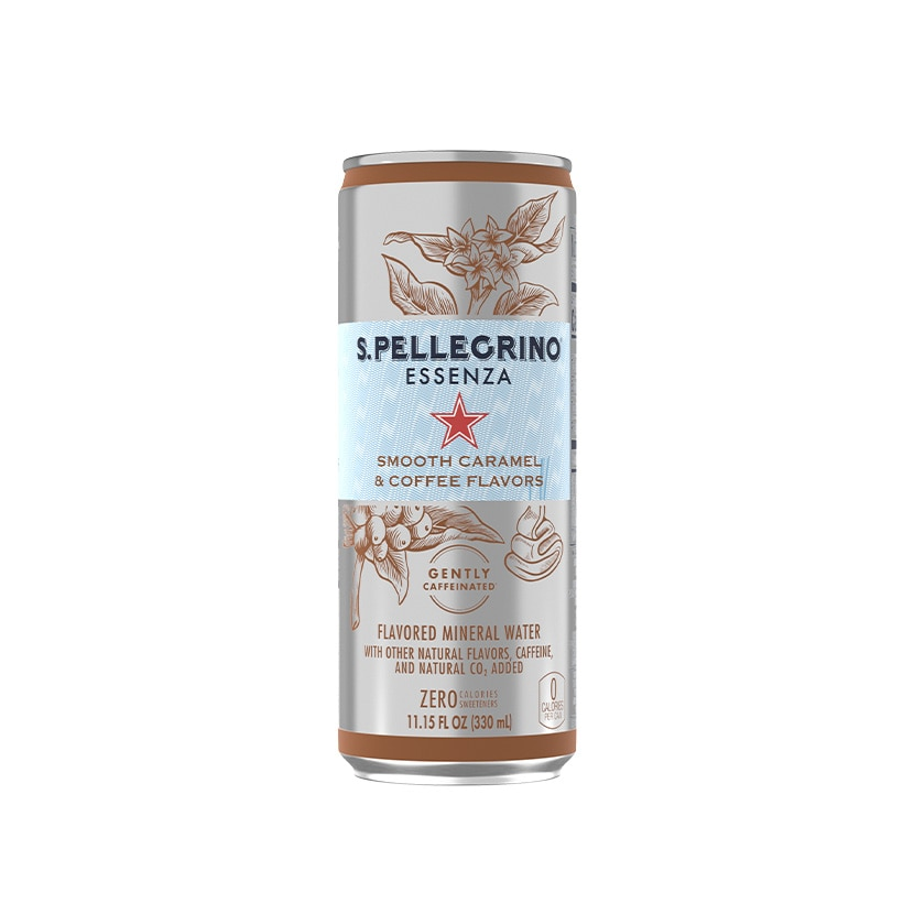 S.Pellegrino Essenza Smooth Caramel & Coffee Flavors Can Front