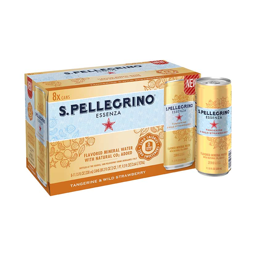 S.Pellegrino Essenza, Tangerine and Wild Strawberry 8 cans fridgepack
