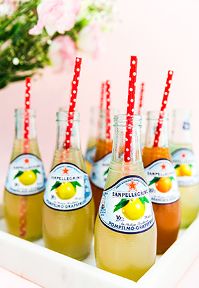 Sanpellegrino fruit beverages glass bottles with drinking straws