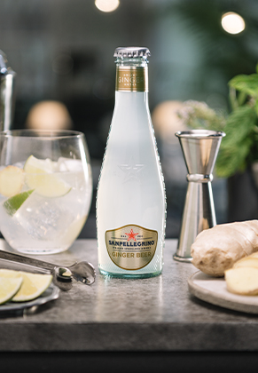 A bottle of Sanpellegrino ginger beer