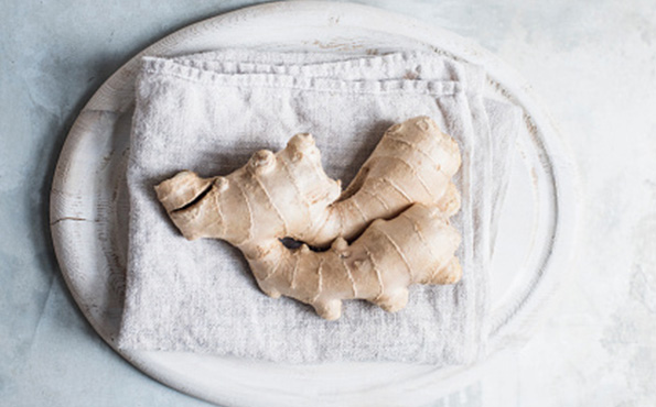 Fresh Ginger root on a napkin