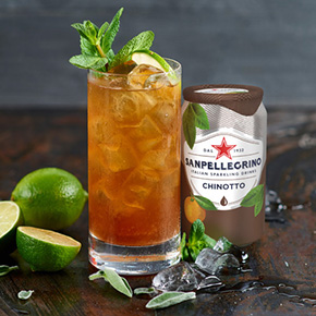 Green Chinotto mocktail with Sanpellegrino