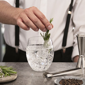 Sparkling tonic water flavored with rosemary