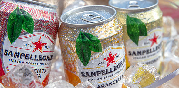 Sanpellegrino beverages at orange, lemon and blood orange flavors with ice
