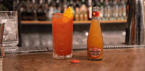 Sanpellegrino Aranciata Rossa Organic bottle with a Blood & Sand Cocktail