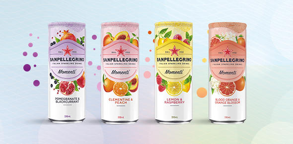 Cans of Sanpellegrino Momenti Sparkling Juice Drinks