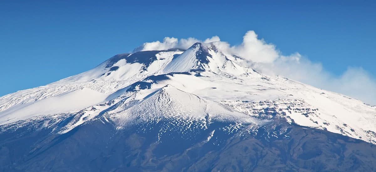 Mount Etna covered in snow