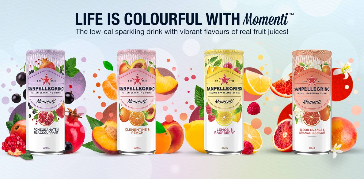 All flavours of Sanpellegrino Momenti Sparkling Drinks - 4 cans with fruits