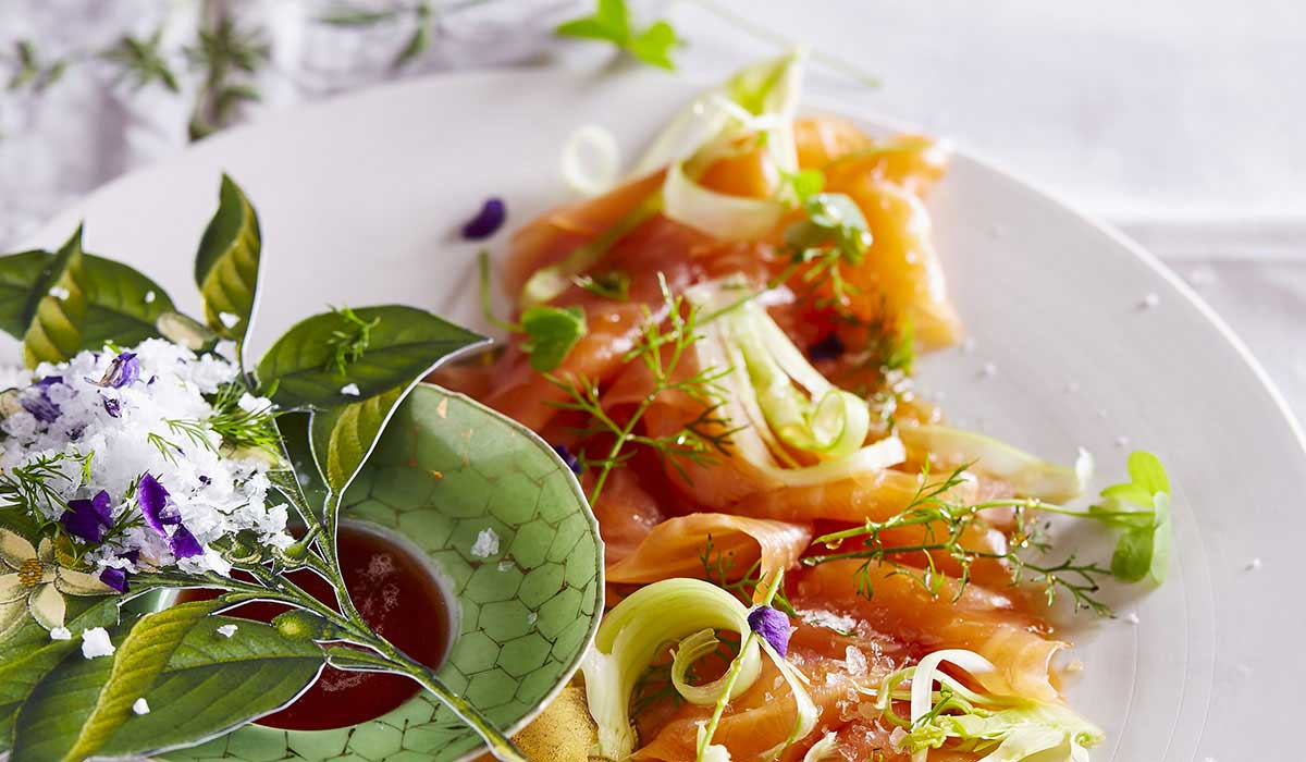 Salmon carpaccio with citrus dressing